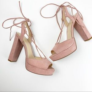 Jessica Simpson Lace Up baby Pink Heels